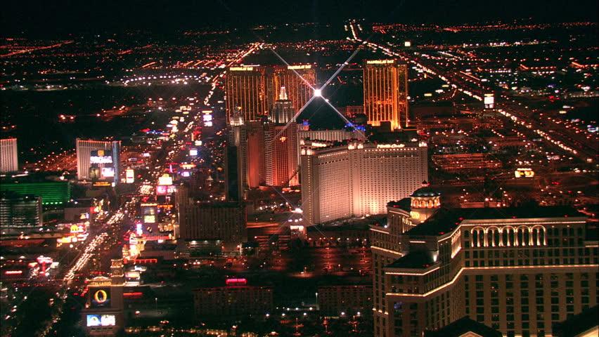 LAS VEGAS, USA - 1 January 2011 - Hotel Strip Night Las Vegas. Aerial footage of the Las Vegas strip at night. Beautiful hotel and skyscrapers light up the city skyline. | Shutterstock HD Video #5575409