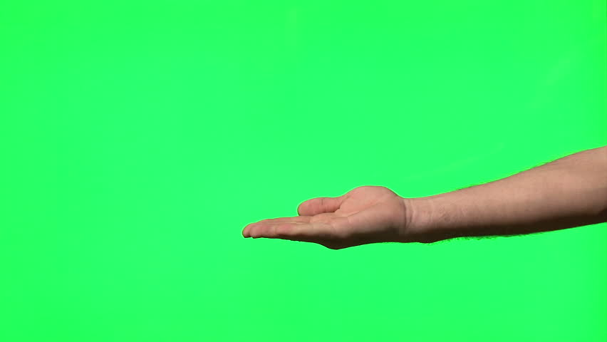 Male hand gestures on green screen: presenting, pointing, thumbs up, snapping, clapping