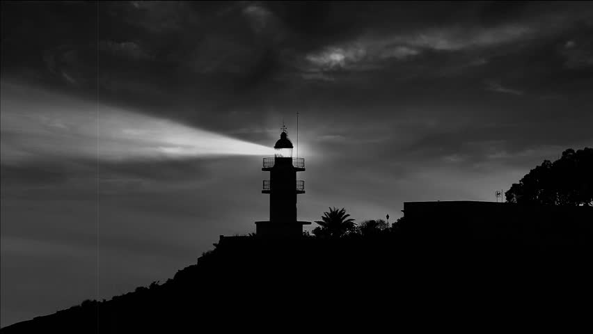 Lighthouse At Night / Dusk With Dark Clouds And Lens Flare ...