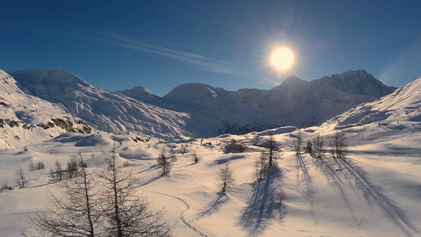 winter landscape. majestic snow mountains. tourism resort nature. aerial view. fly over #5593961