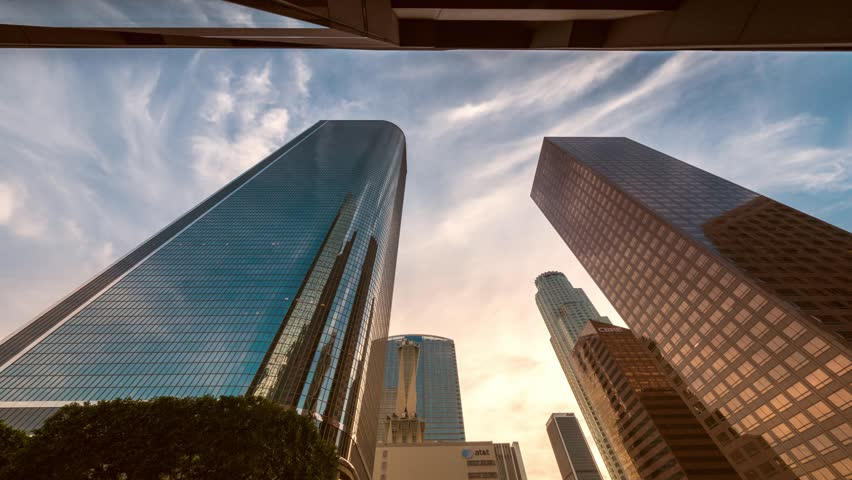 Downtown Los Angeles city buildings skyline at sunset. 4K timelapse. | Shutterstock HD Video #5605499