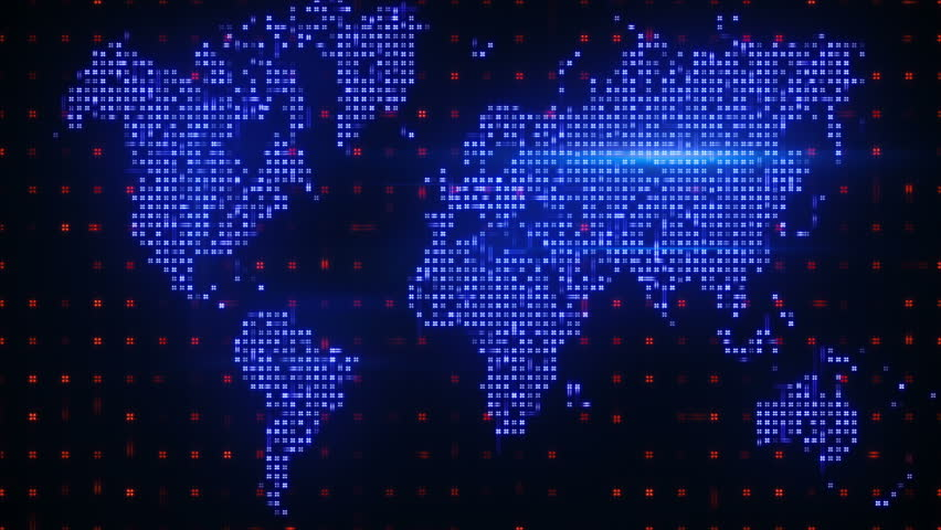 World Map With Connections And City Lights Loopable World Map