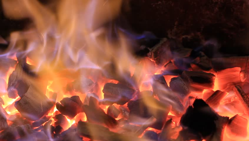 Perfect Seamless Loop Of Ember In A Fireplace With Beautiful Blue ...