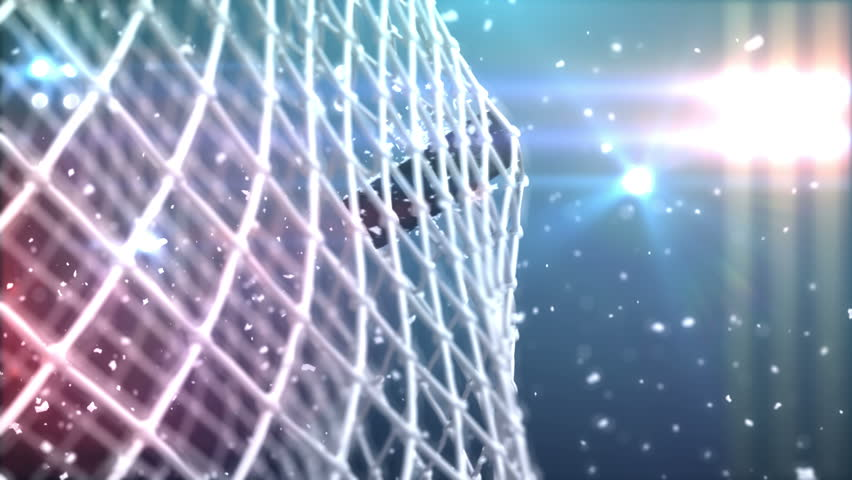 4k the puck flies to gate, beautiful 3d animation. | Shutterstock Video #5643131