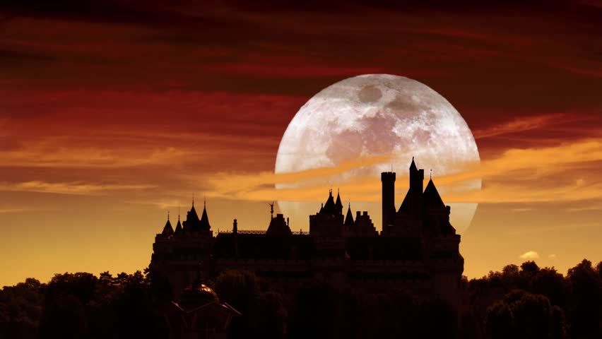 Stock Video Of Big Full Moon Rising Behind Medieval