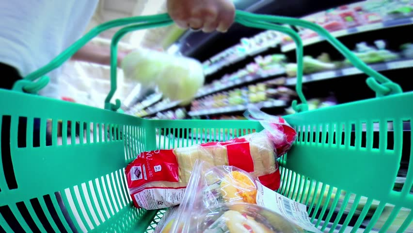 basket in a supermarket time lapse