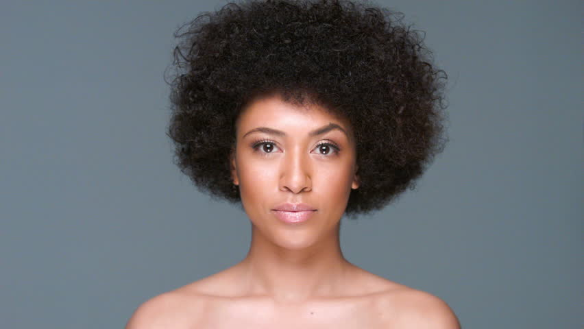 Seductive Nude African American Woman With A Large Afro -3564
