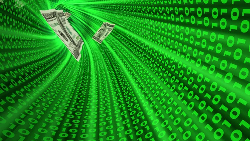 Electronic transaction. 3d seamless looping conceptual video