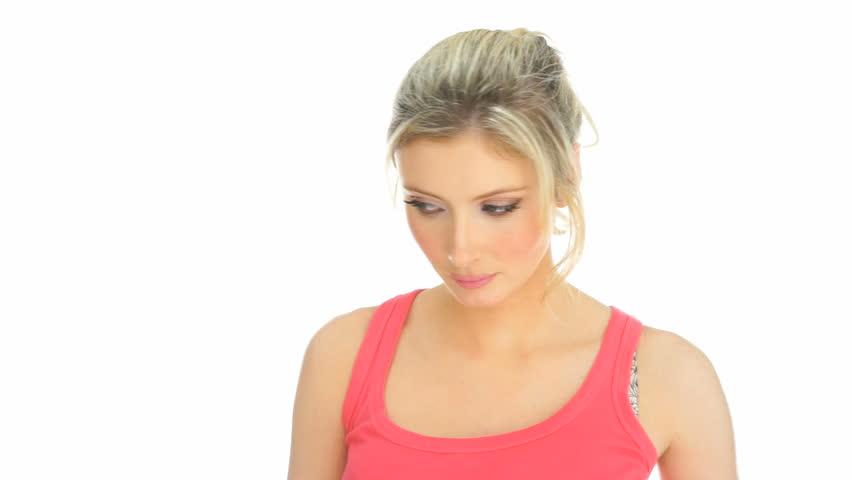 Blonde wearing pink video