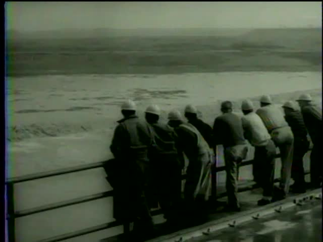 The site of St. Lawrence power project after the blast which opened a new link to establish a hydroelectric station near Massena, NY-MGM PICTURES, UNIVERSAL-INTERNATIONAL NEWSREEL, USA, filmed in 1958