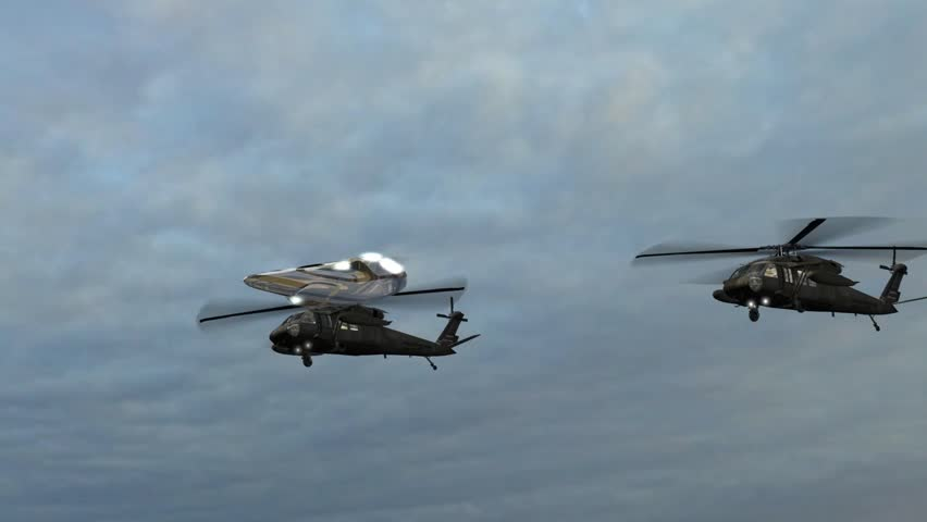 UFO Escorted By Black Hawk Military Helicopters
