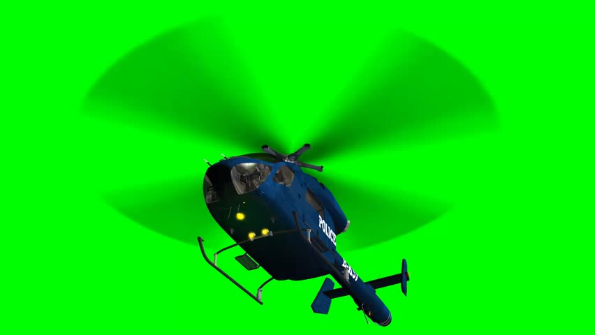 Police Helicopter in fly - green screen