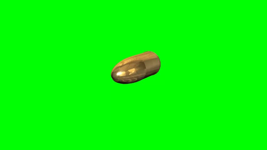 flying gold bullet - green screen