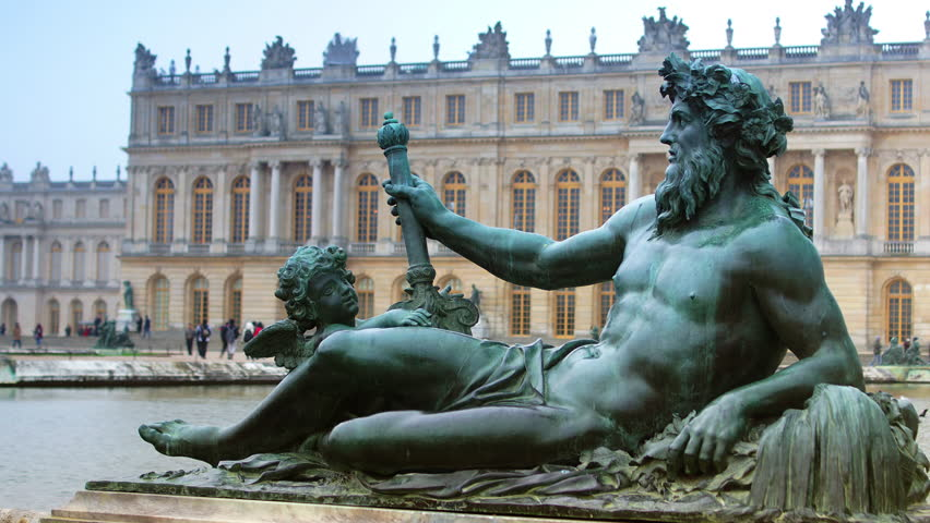 Versailles, Paris, France-The sculptures were designed and directed by Charles Le Brun: each pool is decorated with four reclining statues symbolising the rivers of France