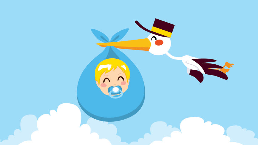 Stork flying with cute baby boy wrapped on blue blanket package for delivery, HD cartoon animation, matte alpha included