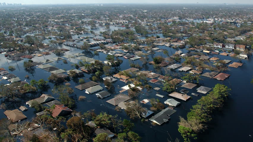 Severe flooding natural disaster aerial. Perfect for videos about natural disasters, flooding, monsoons, typhoons, mudslides, landslides, nature, disasters, death, hurricane Harvey or Hurricane Irma