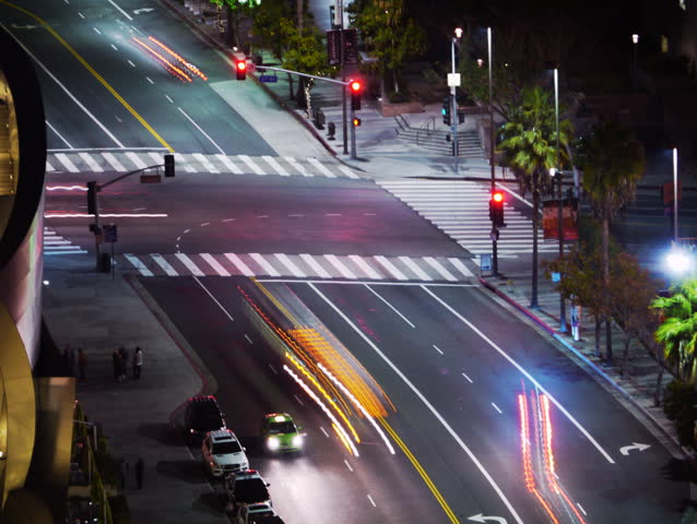 4K Time Lapse of Traffic at Intersection at Night -Full Frame- | Shutterstock HD Video #5766254