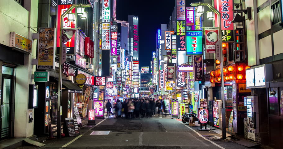 TOKYO 2013 - Time Lapse of the busy Kabukicho Area Of Shinjuku In Tokyo, Japan