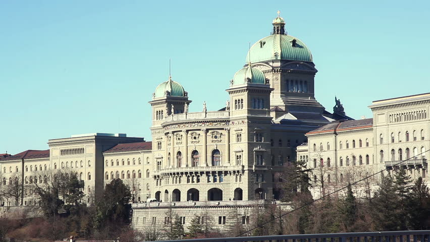 Bundeshaus in Bern with Tram Passing