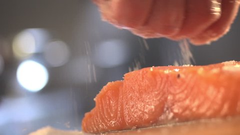 cook salmon fillets stock footage food