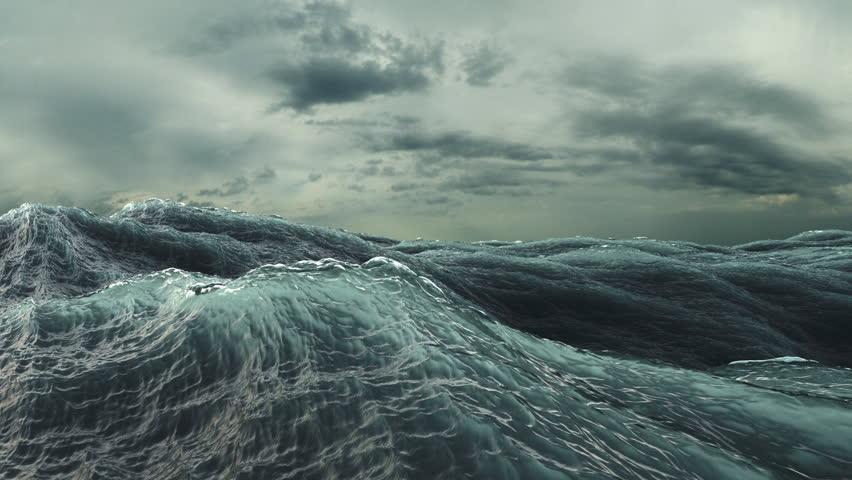 Rough Sea Loop 3D A loop of big waves in an agitated ocean. Camera goes underwater several times, 4k | Shutterstock HD Video #5889806