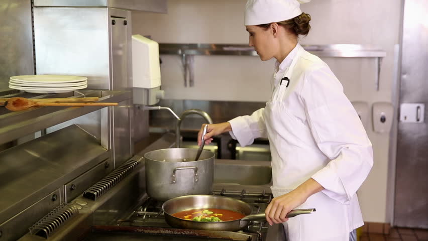 Restaurant Kitchen Video busy chefs cooking in restaurant kitchen stock footage video