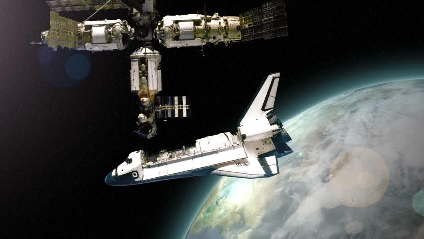 Broken Satellite Falling To Earth. 3D Animation. Stock ...