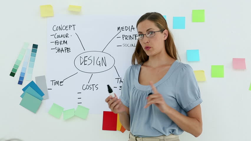 Designer presenting her ideas on a whiteboard in creative office | Shutterstock HD Video #5899112