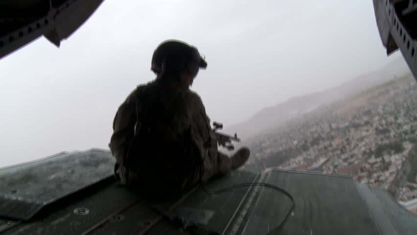 Closeup of Helicopter Tail Gunner on Flight Over Kabul, Afghanistan