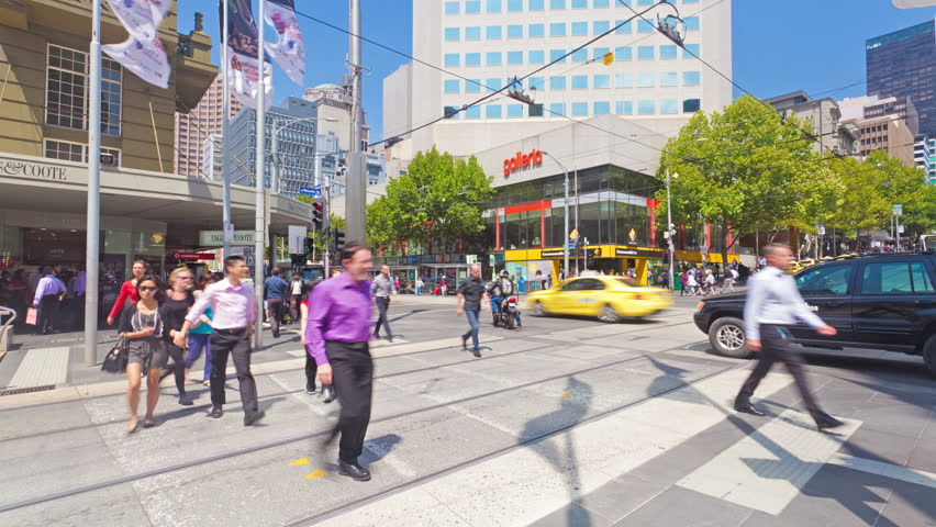 Melbourne, Australia - Feb 12: 4k timelapse video of people crossing a busy crosswalk in Melbourne on February 12, 2013. Melbourne is the second most populous city in Australia.