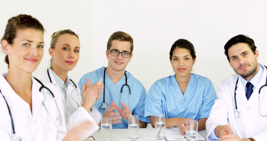 Group Of Doctors With Thumbs Up At The Hospital Stock Footage ...