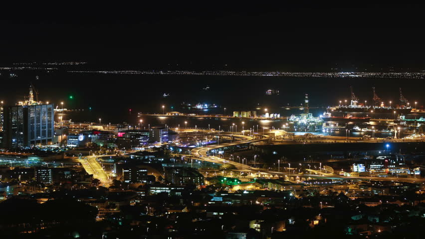 Cape town city overview time-lapse shot during busy night | Shutterstock HD Video #5938859