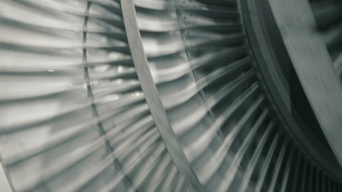 Close up of balancing steam turbine rotating rotor