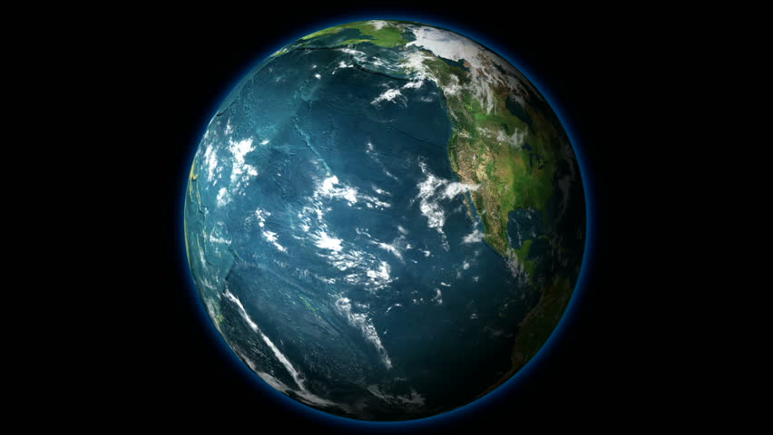 HD 1080 - Planet Earth rotates on Black Background (Loopable). Correct Earth Rotation - Earth's axis deviates from the perpendicular to the orbital plane at 23.30 degrees.