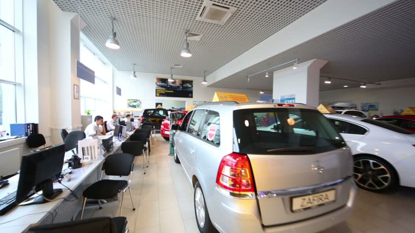 Russia Moscow Aug 28 2012 Large Office Of Shop Selling Cars In
