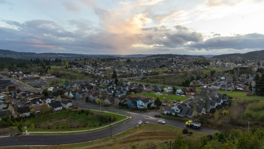 Happy Valley Oregon Suburban Homes At Colorful Sunset And