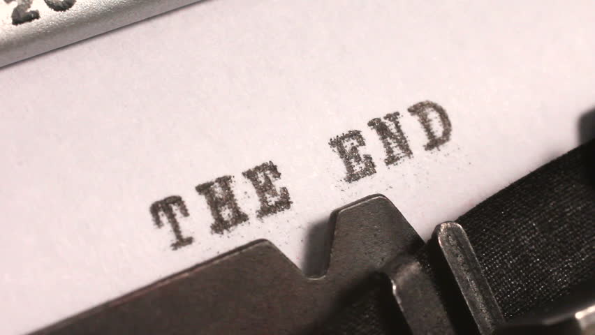 typing the end on an old manual typewriter hd stock video clip
