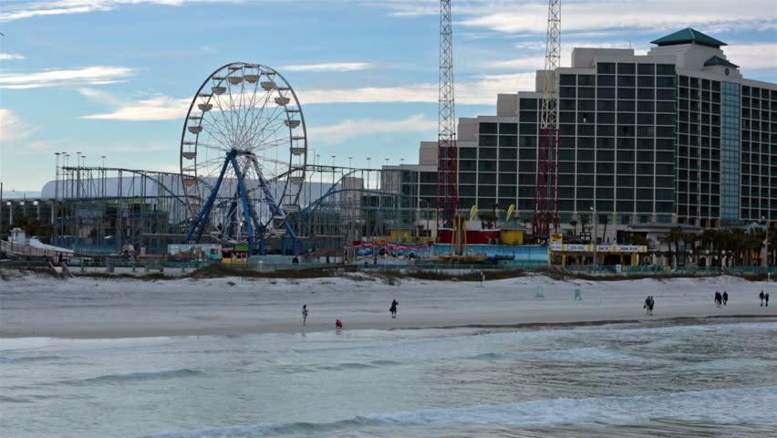 Daytona Beach Boardwalk Sand Carnival Rides Resorts And Festival Amut Along