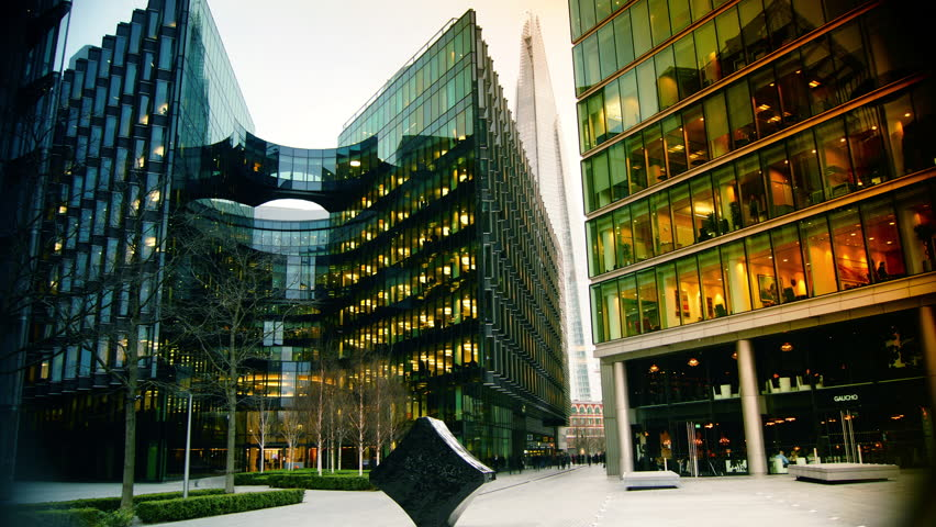 Modern Architecture Videos london, uk - april 5: (color graded) traffic and pedestrians on