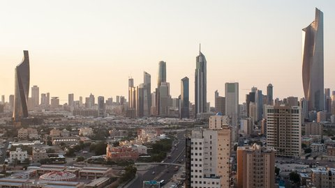 KUWAIT - CIRCA NOVEMBER 2013: Arabian Peninsula, Kuwait, Kuwait City, Elevated day to night transition over the city centre