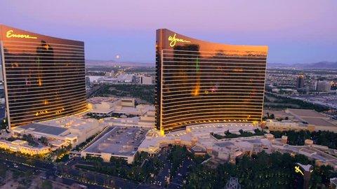 LAS VEGAS, NEVADA, CIRCA 2013 - Aerial view of the Encore and Wynn hotels in Las Vegas, Nevada.