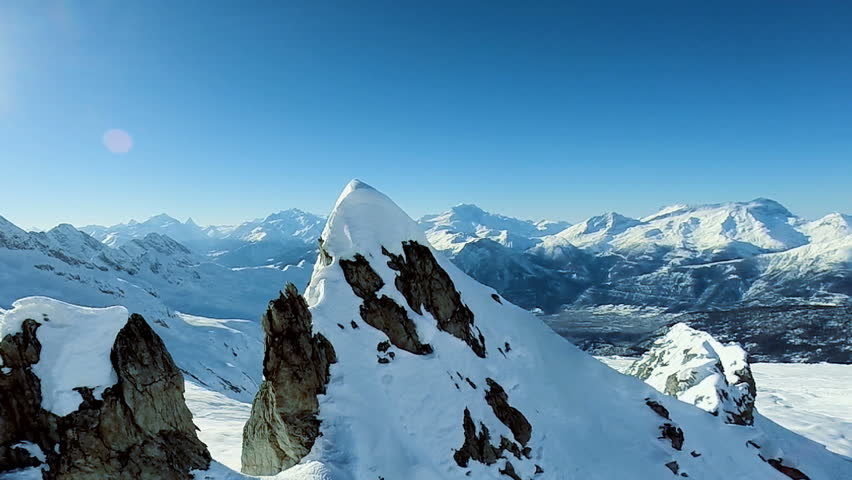 snow mountain peak. aerial view