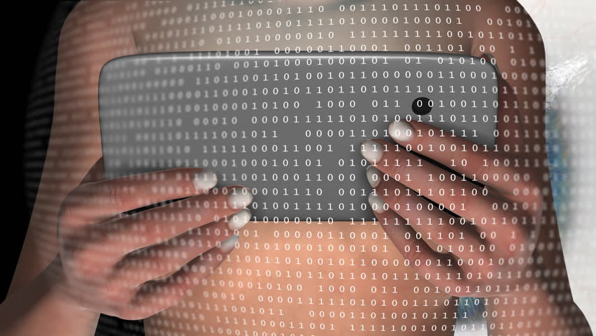 Young, nude woman holding a tablet computer and being watched by a giant  eye. Last 100 frames loop.