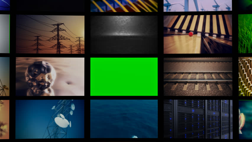 Multichannel curved display of colorful footages/media screens in a montage at an exhibition. Copy space on green screen.