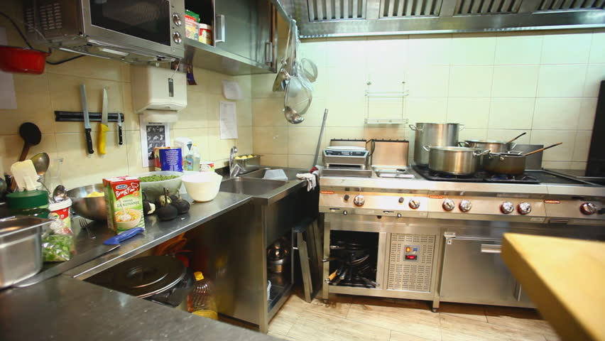 Restaurant Kitchen Video electric cookers, hoods and sinks in the restaurant kitchen stock