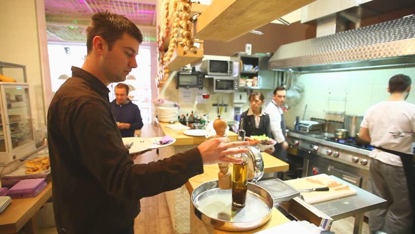 Busy Restaurant Kitchen busy chef in kitchen in restaurant stock footage video 6091643