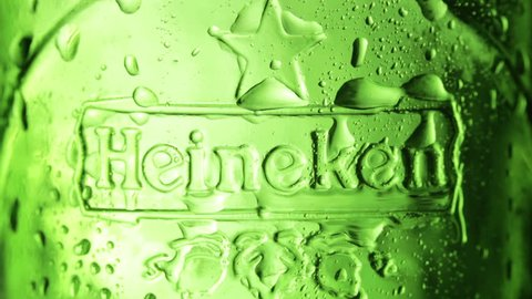 CHELYABINSK, RUSSIA - APRIL 02, 2014: Heineken dutch brewing company. Heineken Lager Beer is the flagship product of Heineken. International which owns over 125 breweries in more than 70 countries.