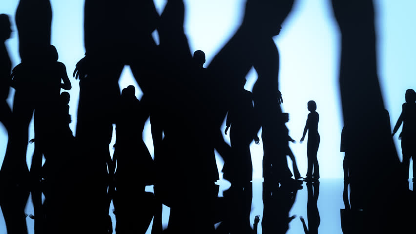 Silhouettes of a crowd of people walking on a reflective surface past a bright background #6096059