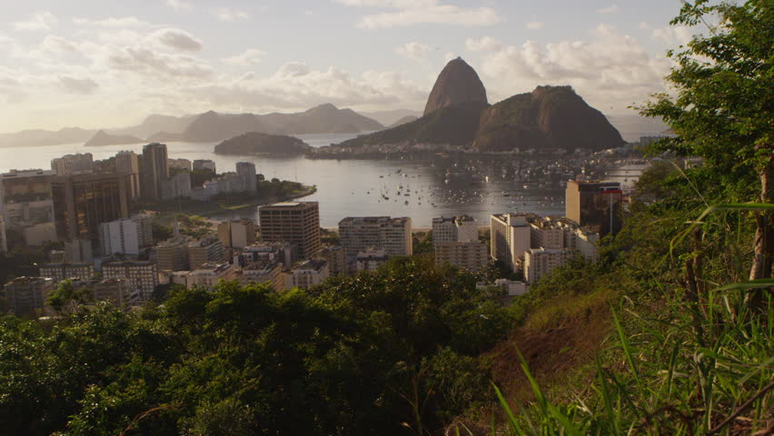 Tracking shot of Rio de Janeiro's Mountains and Guanabara Bay -shaky