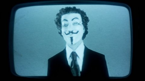a man with an anonymous v for vendetta mask with intentional broken tv and video static